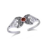 Celtic Moon Goddess Cuff Bracelet with Garnet