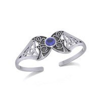 Celtic Moon Goddess Cuff Bracelet with Sapphire