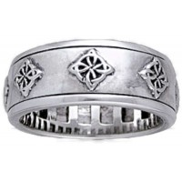 Celtic Quaternary Sterling Silver Fidget Spinner Ring