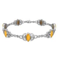 Celtic Trinity Knot Link Bracelet with Amber Gemstones