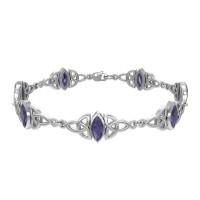 Celtic Trinity Knot Link Bracelet with Amethyst Gemstones