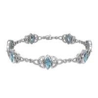 Celtic Trinity Knot Link Bracelet with Blue Topaz Gemstones