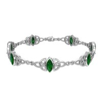 Celtic Trinity Knot Link Bracelet with Emerald Gemstones