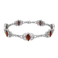 Celtic Trinity Knot Link Bracelet with Garnet Gemstones