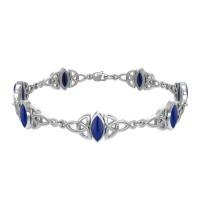 Celtic Trinity Knot Link Bracelet with Lapis Gemstones