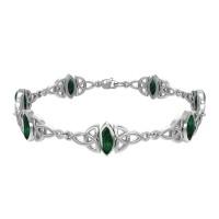 Celtic Trinity Knot Link Bracelet with Malachite Gemstones