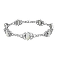 Celtic Trinity Knot Link Bracelet with Mother of Pearl Gemstones