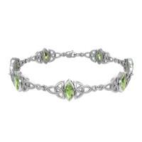 Celtic Trinity Knot Link Bracelet with Peridot Gemstones