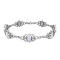 Celtic Trinity Knot Link Bracelet with Rainbow Moonstone Gemstones
