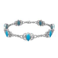 Celtic Trinity Knot Link Bracelet with Turquoise Gemstones