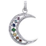 Silver Moon Gemstone Pendant at Jewelry Gem Shop,  Sterling Silver Jewerly | Gemstone Jewelry | Unique Jewelry