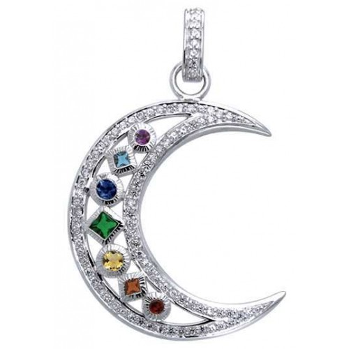 Silver Moon Gemstone Pendant at Jewelry Gem Shop,  Sterling Silver Jewerly | Gemstone Jewelry | Unique Jewelry