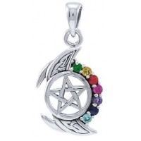 Pentagram, Crescent Moon, and Chakra Silver Pendant