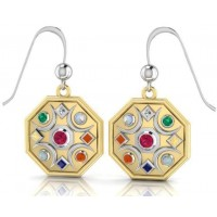 Chandra Moon Gemstone Gold Plated Earrings