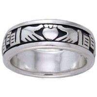 Claddagh Celtic Sterling Silver Fidget Spinner Ring