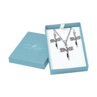 Dragonfly Silver Pendant & Earrings with Free Chain Gift Box Set