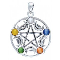 Pentacle with Gems and Moon Pendant Jewelry Gem Shop  Sterling Silver Jewerly | Gemstone Jewelry | Unique Jewelry