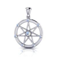 Elven Star with Rainbow Moonstone Gems Silver Pendant