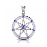 Elven Star with Amethyst Gems Silver Pendant
