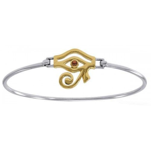 Eye of Horus Sterling and Gold Bangle Bracelet at Jewelry Gem Shop,  Sterling Silver Jewerly | Gemstone Jewelry | Unique Jewelry