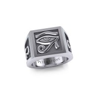The Eye of Horus and Ankh Mens Signet Ring