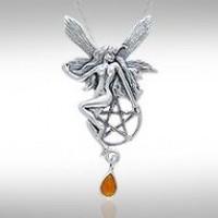 Fairy with Pentagram Silver Pendant & Amber Gem
