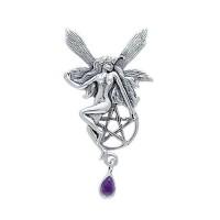 Fairy with Pentagram Silver Pendant & Amethyst Gem