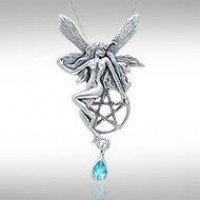Fairy with Pentagram Silver Pendant & Blue Topaz Gem