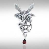 Fairy with Pentagram Silver Pendant & Garnet Gem
