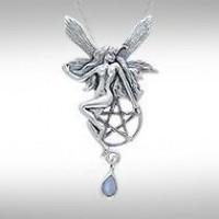 Fairy with Pentagram Silver Pendant & Rainbow Moonstone Gem