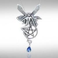 Fairy with Pentagram Silver Pendant & Sapphire Gem