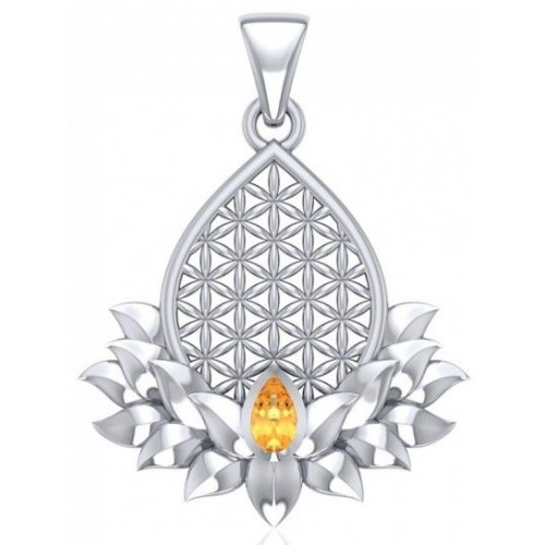Lotus Flower of Life Citrine Pendant at Jewelry Gem Shop,  Sterling Silver Jewerly   Gemstone Jewelry   Unique Jewelry