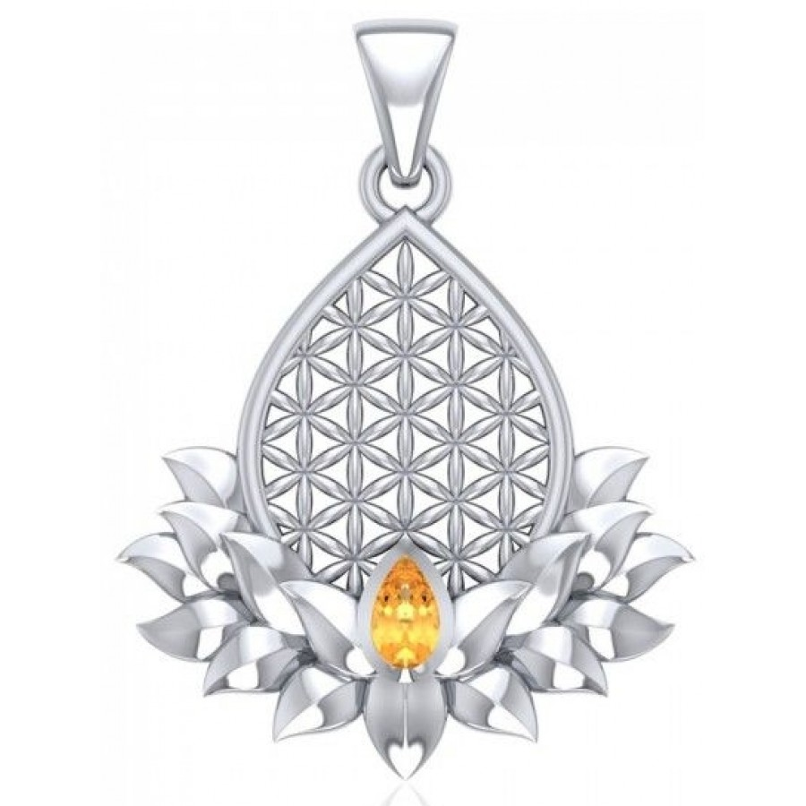 Lotus flower of life gemstone pendant pagan jewelry spiritual charm lotus flower of life gemstone pendant izmirmasajfo