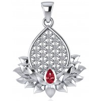 Lotus Flower of Life Garnet Pendant Jewelry Gem Shop  Sterling Silver Jewerly | Gemstone Jewelry | Unique Jewelry