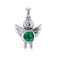 Little Angel Boy Emerald Birthstone Pendant