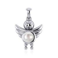 Little Angel Boy Mother of Pearl Birthstone Pendant