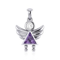 Little Angel Girl Silver Pendant with Amethyst Birthstone