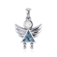 Little Angel Girl Silver Pendant with Aquamarine Birthstone