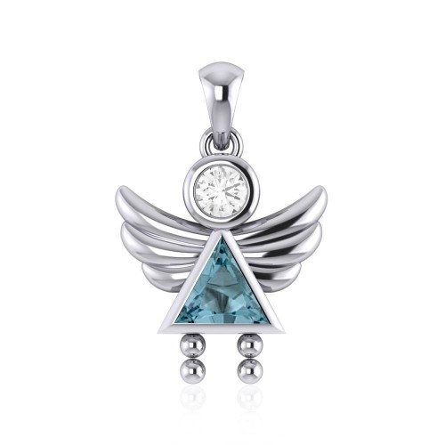 Little Angel Girl Silver Pendant with Blue Topaz Birthstone