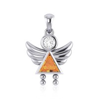 Little Angel Girl Silver Pendant with Citrine Birthstone