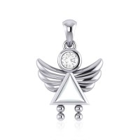 Little Angel Girl Silver Pendant with Mother of Pearl Birthstone