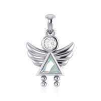 Little Angel Girl Silver Pendant with Opal Birthstone