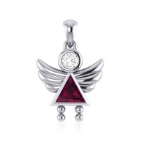 Little Angel Girl Silver Pendant with Ruby Birthstone