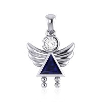 Little Angel Girl Silver Pendant with Sapphire Birthstone