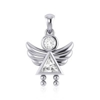 Little Angel Girl Silver Pendant with White Cubic Zirconia Birthstone