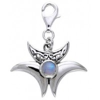 Magick Triple Moon Charm with Moonstone
