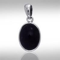 Oval Black Onyx Cabochon Pendant