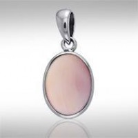 Oval Pink Shell Cabochon Pendant