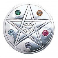 Pentacle Disc Sterling Silver Pendant