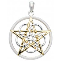 Textured Silver and Gold Pentagram Pendant